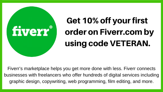 Take Five and check out FIVERR.com and you will receive 10% off your first order by using my codeVETERAN.